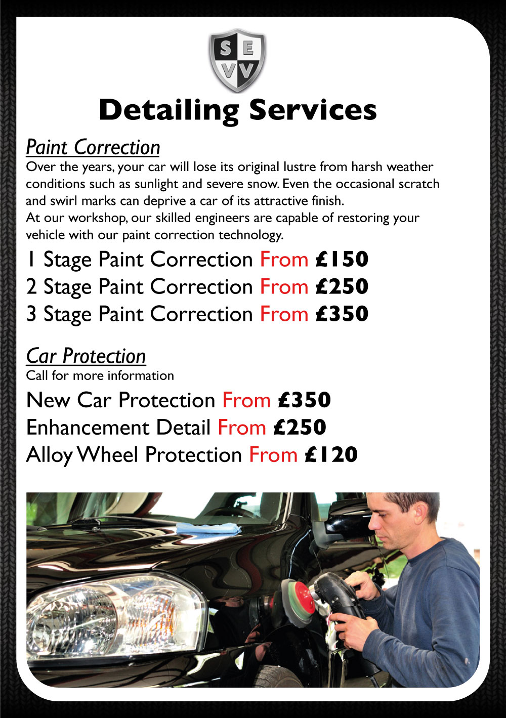 Car Detailing Cost >> Detailing Cost Pricing South East Vehicle Valet Car